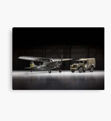 L-19E Bird Dog with Dodge M37 truck Canvas Print