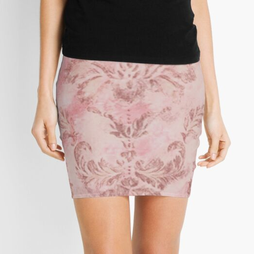 Pink Damask Mini Skirt