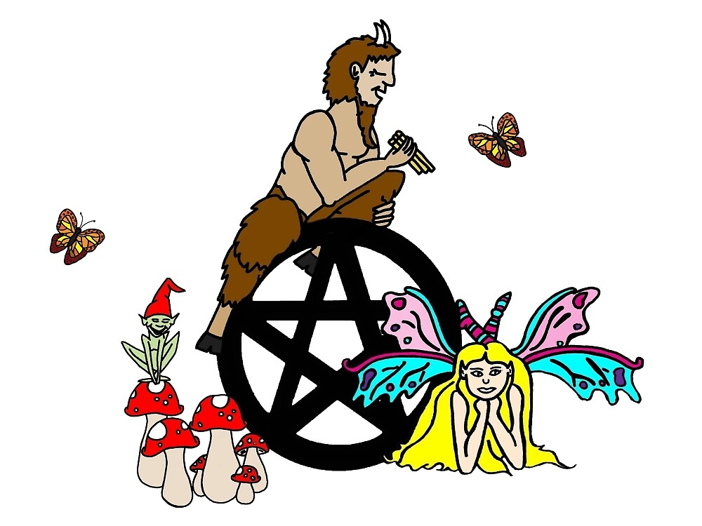 Faeries, Pan and a Pentacle by imphavok