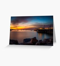 Here She Comes Again Sunrise at Harford Pier Port San Luis Avila Greeting Card