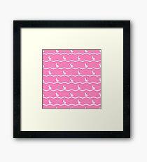 White rabbits on pink. Framed Print