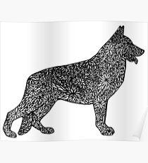 German Shepard- Doodle Dogs Poster