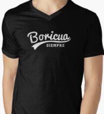 """Puerto Rican Vintage Style - """"Boricua Siempre""""  Men's V-Neck T-Shirt"""