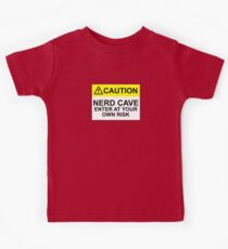 CAUTION: NERD CAVE, ENTER AT YOUR OWN RISK Kids Tee
