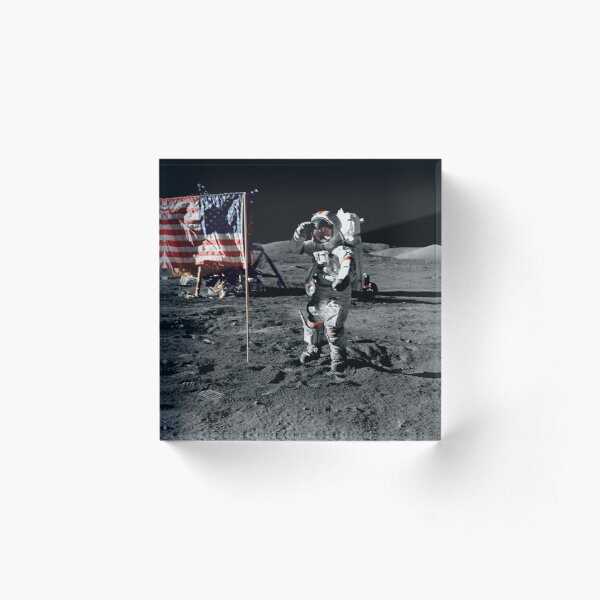 Apollo 17 astronaut salutes the United States flag on the lunar surface. Acrylic Block