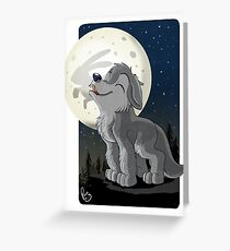 Little Wolf Howling Greeting Card