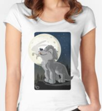 Little Wolf Howling Women's Fitted Scoop T-Shirt