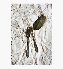 Vintage cutlery on a paper background Photographic Print