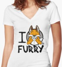 I grrarrrgh furry (fox version) Women's Fitted V-Neck T-Shirt