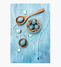 Still life with blue easter eggs Photographic Print