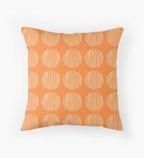 Circles stripes on orange Throw Pillow