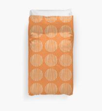 Circles stripes on orange Duvet Cover