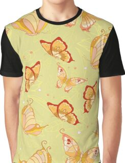 Pattern of butterflies on light green background Graphic T-Shirt