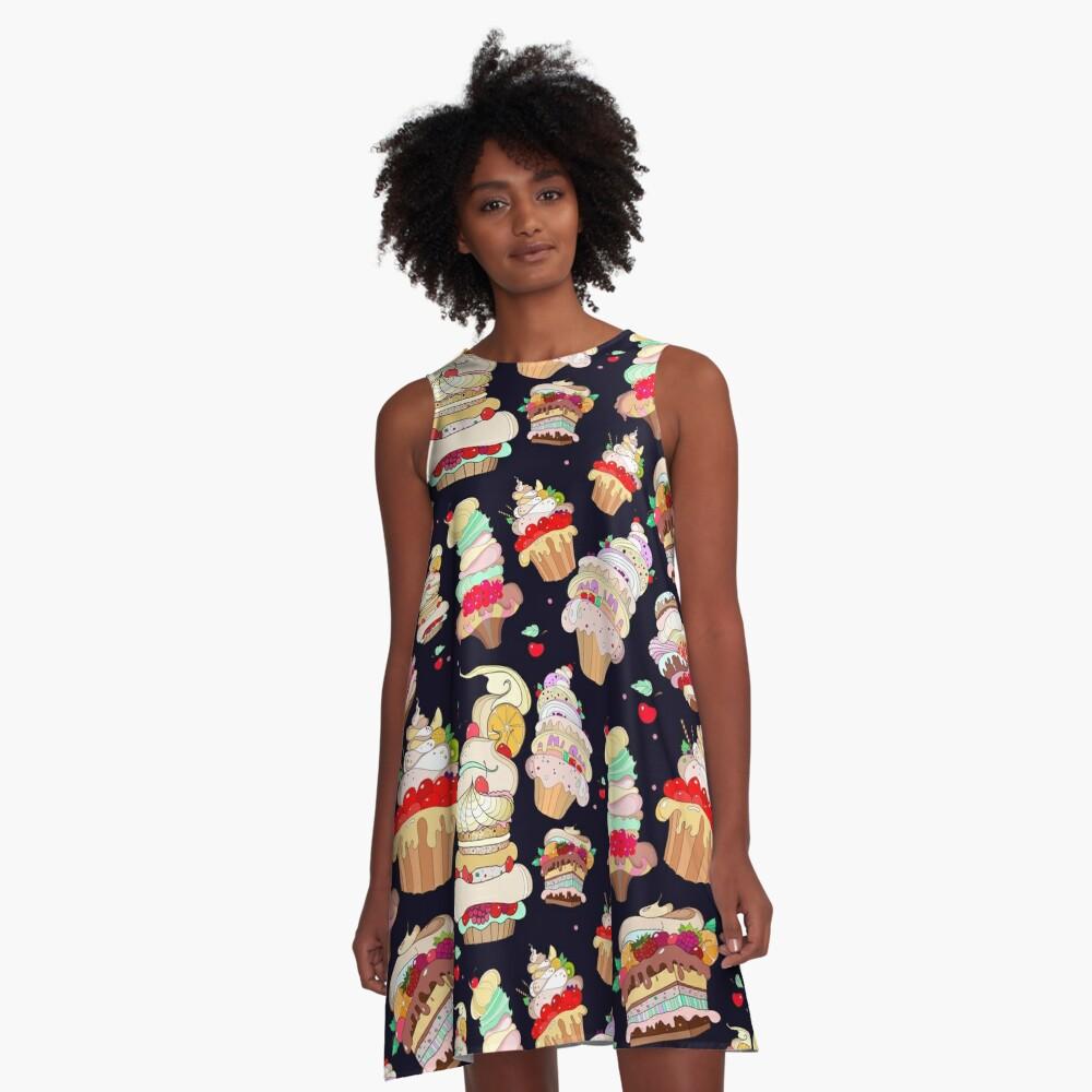 Muster mit den fantastischen Kuchen A-Linien Kleid