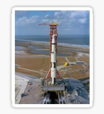 High angle view of the Apollo 4 spacecraft on the launch pad. Sticker