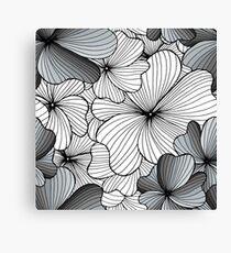 gray flowers pattern Canvas Print
