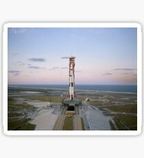 High-angle view of the Apollo 8 spacecraft on the launch pad. Sticker