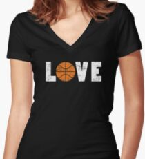 I Love Basketball Word Emoji Emoticon Graphic Tee Funny Illustrated Pun Words Women's Fitted V-Neck T-Shirt