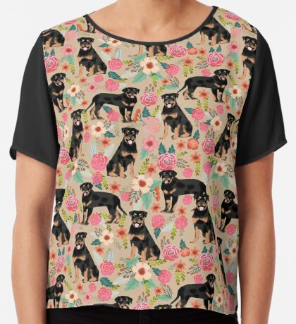 Rottweiler florals cute dog pattern pet friendly dog lover gifts for all dog breeds by PetFriendly Chiffon Top
