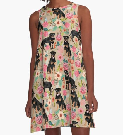 Rottweiler florals cute dog pattern pet friendly dog lover gifts for all dog breeds by PetFriendly A-Line Dress