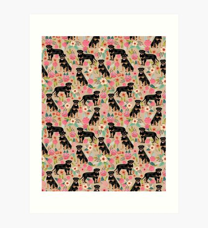Rottweiler florals cute dog pattern pet friendly dog lover gifts for all dog breeds by PetFriendly Art Print