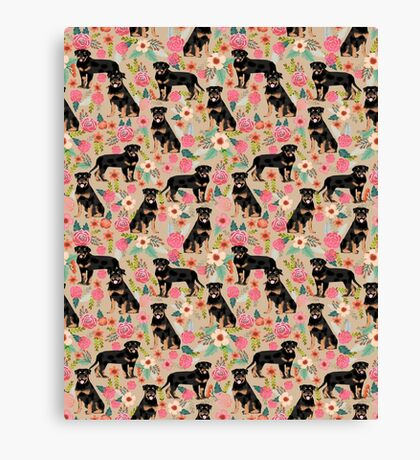 Rottweiler florals cute dog pattern pet friendly dog lover gifts for all dog breeds by PetFriendly Canvas Print
