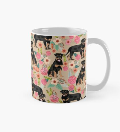 Rottweiler florals cute dog pattern pet friendly dog lover gifts for all dog breeds by PetFriendly Mug