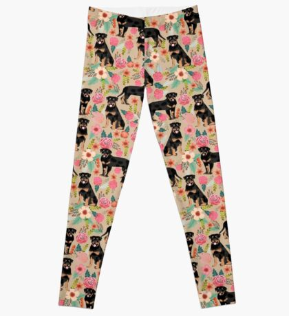 Rottweiler florals cute dog pattern pet friendly dog lover gifts for all dog breeds by PetFriendly Leggings