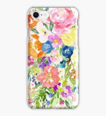 Colorful Large Watercolor Flower Bouquet iPhone Case/Skin