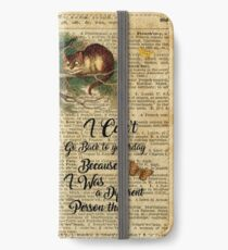 Alice in Wonderland Quote,Cheshire Cat,Vintage Dictionary Art iPhone Wallet/Case/Skin