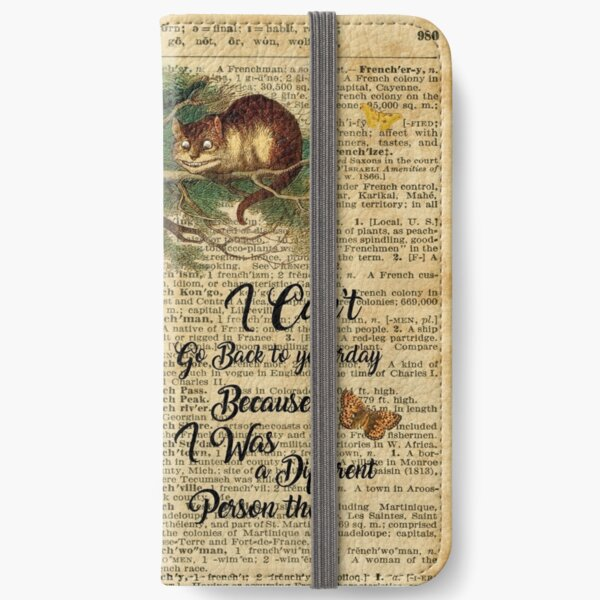 Alice in Wonderland Quote,Cheshire Cat,Vintage Dictionary Art iPhone Wallet