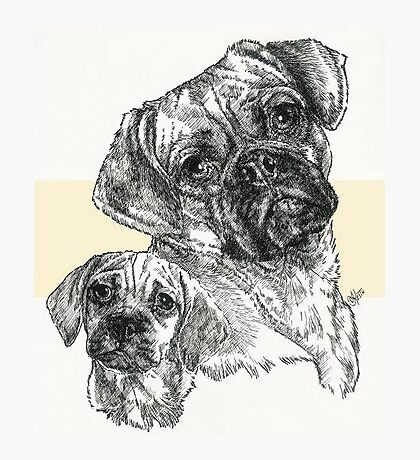 Puggle Father & Son Photographic Print