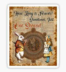 Alice & White Rabbit Vintage Dictionary Art Quote Sticker