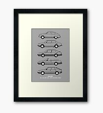 Saab Classic Car Outline Illustration Framed Print