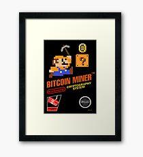 Bitcoin Geek Nintendo Gaming Funny Mario Mashup  Framed Print