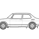 Saab 99 Turbo Outline Drawing by RJWautographics