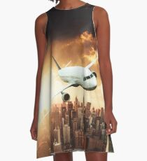 airplane in new york city A-Line Dress