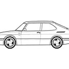 Saab 900 Turbo outline drawing by RJWautographics