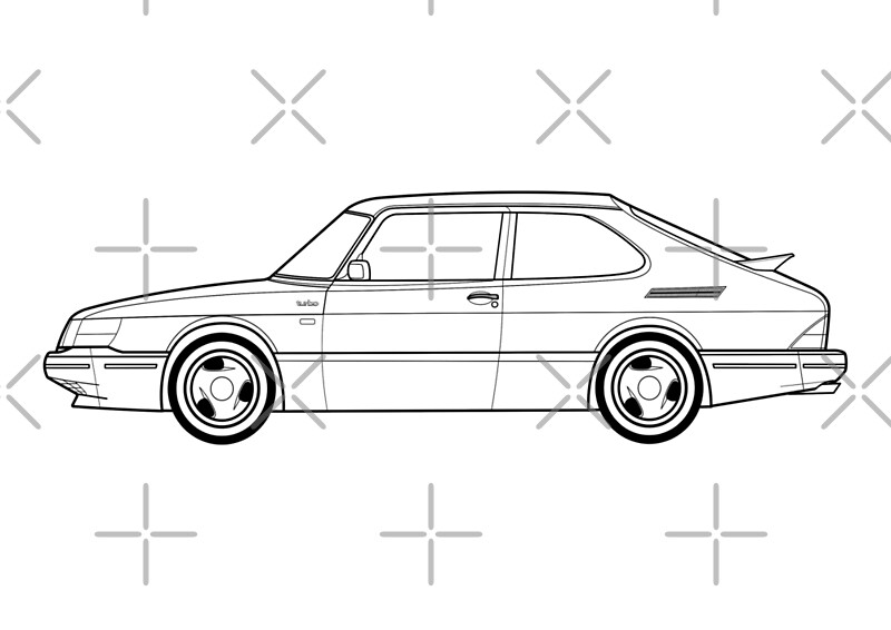 u0026quot saab 900 turbo outline drawing u0026quot  posters by rjwautographics
