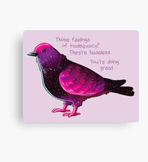 """""""You're Doing Great"""" Galaxy Pigeon Canvas Print"""