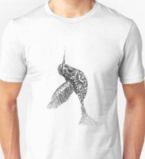 Whimsical Art  Flying hummingbird in Black adn White Unisex T-Shirt