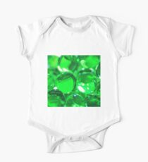 Emerald Green Background - Balls of Colorful Beauty One Piece - Short Sleeve