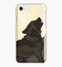 Shaggy Dog Wolf Cub Howling at a Full Moon iPhone Case/Skin