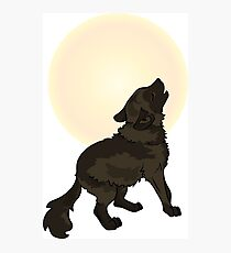 Shaggy Dog Wolf Cub Howling at a Full Moon Photographic Print