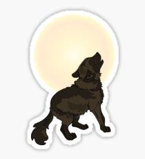 Shaggy Dog Wolf Cub Howling at a Full Moon Sticker