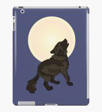 Shaggy Dog Wolf Cub Howling at a Full Moon iPad Case/Skin
