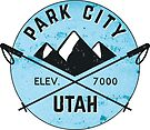PARK CITY UTAH MOUNTAINS SKIING SKI SNOWBOARD CROSSED SKIS 3 by MyHandmadeSigns