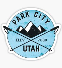 PARK CITY UTAH MOUNTAINS SKIING SKI SNOWBOARD CROSSED SKIS 3 Sticker