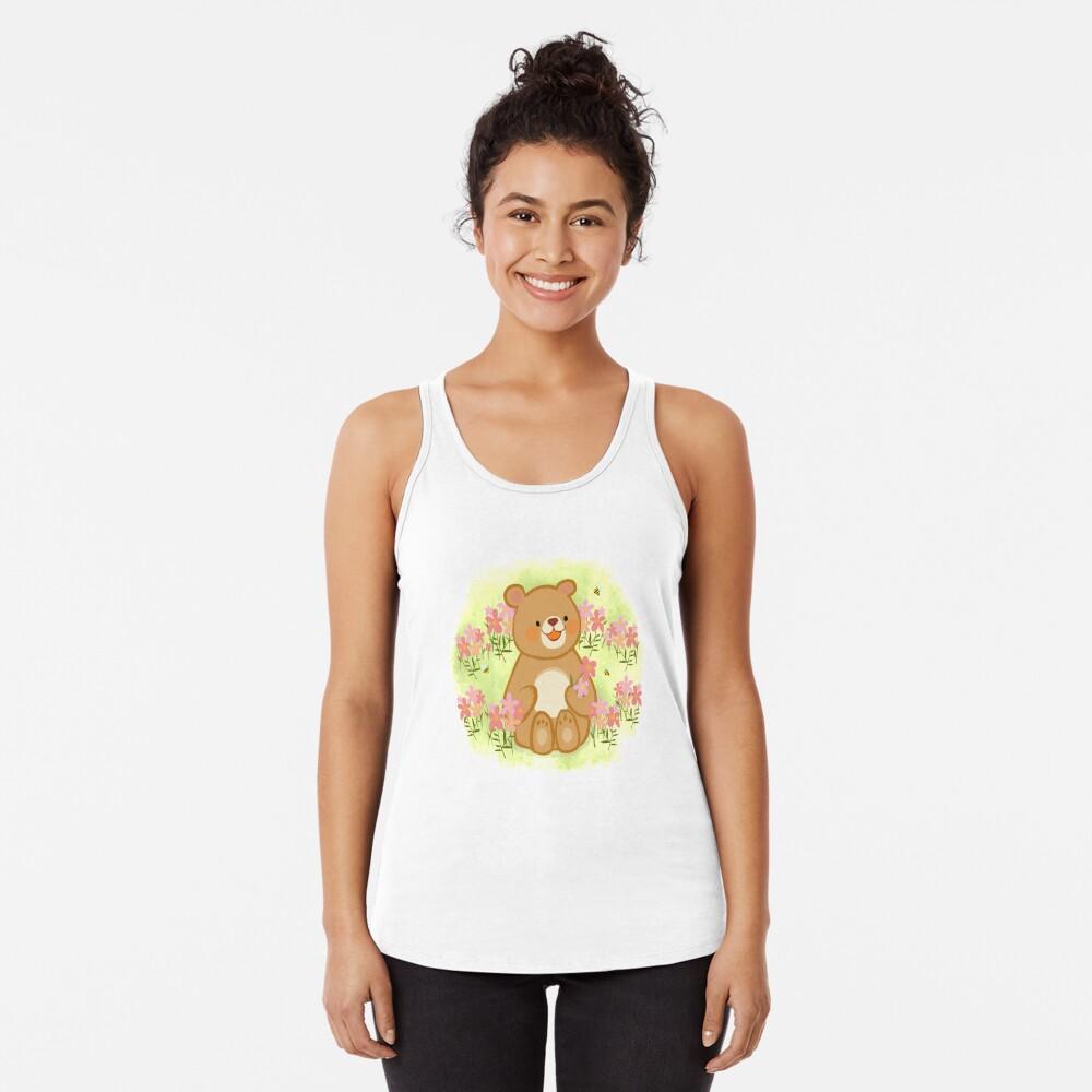 Bienenblüten und ein Bär Racerback Tank Top