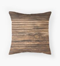 Weathered Rustic Brown Wood Grain Effect Throw Pillow